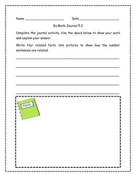 Go Math! Math Journal Activities for Grade 1, Chapter 5