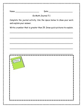 Go Math! Math Journal Activities for Grade 1, Chapter 7