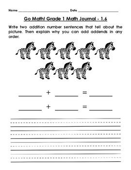 Go Math! Math Journal - Grade 1 - Chapter 1