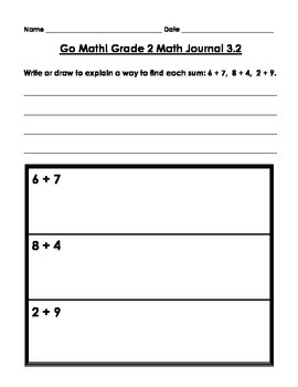 Go Math! Math Journal - Grade 2 - Chapter 3