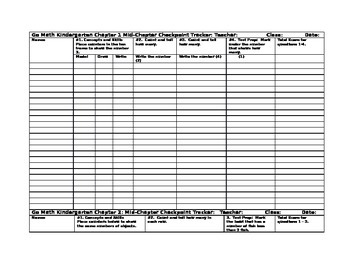 Go Math Mid- Chapter Checkpoint Trackers for Chapters 1-12