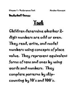 Go Math Performance Task - Chapter 1 - 2nd Grade