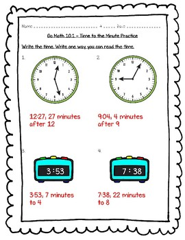 Go Math Practice - 3rd Grade - 10.1 Time to the Minute