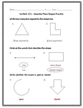Go Math Practice - 3rd Grade - 12.1 - Describe Plane Shapes