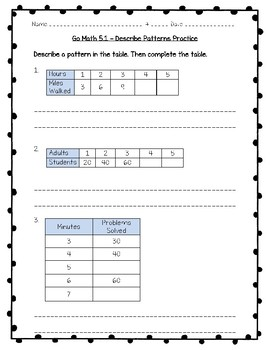 go math practice 3rd grade 5 1 describe patterns worksheet freebie. Black Bedroom Furniture Sets. Home Design Ideas