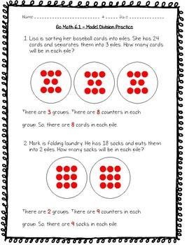 Go Math Practice - 3rd Grade - 6.1 - Model Division Worksheet Freebie!