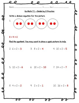 Go Math Practice - 3rd Grade - 7.1 - Divide by 2 Worksheet Freebie