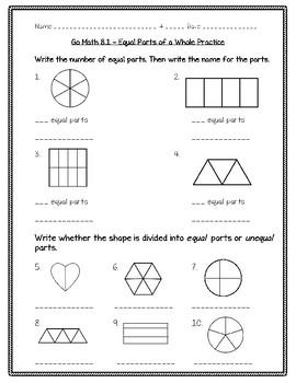 go math practice 3rd grade 8 1 equal parts of a whole worksheet freebie. Black Bedroom Furniture Sets. Home Design Ideas