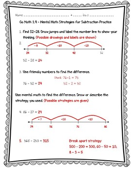 Go Math Practice - 3rd Grade Chapter 1 - Addition and Subtraction Within 1,000