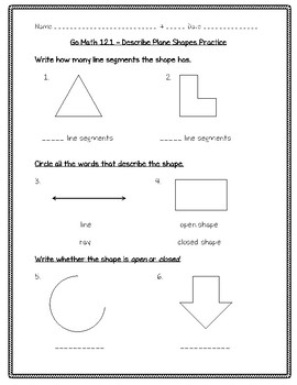 Go Math Practice - 3rd Grade Chapter 12 - Two-Dimensional Shapes