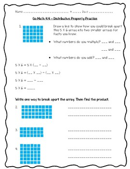 Go Math Practice - 3rd Grade Chapter 4 - Multiplication Facts and Strategies