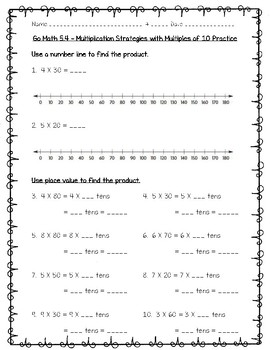 Go Math Practice - 3rd Grade Chapter 5 - Use Multiplication Facts