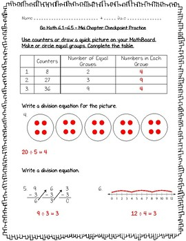 Go Math Practice - 3rd Grade Chapter 6 - Understand Division Worksheets