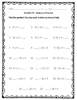 Go Math Practice - 3rd Grade Chapter 7 - Division Facts and Strategies
