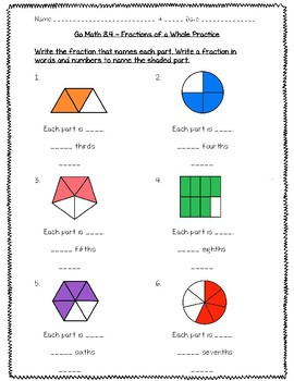 Go Math Practice - 3rd Grade Chapter 8 - Understand Fractions