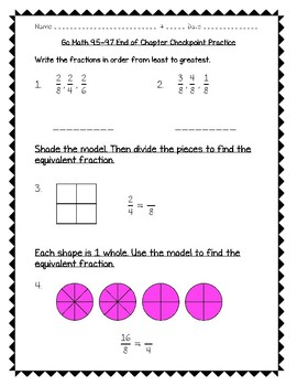 Go Math Practice - 3rd Grade Chapter 9 - Compare Fractions