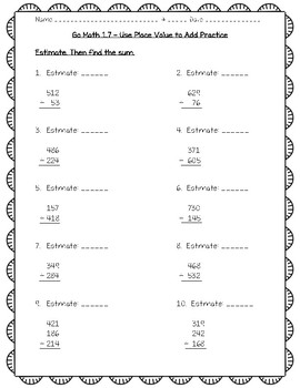 Go Math Practice - 3rd Grade Worksheets For Entire Year ...