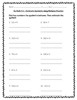 go math practice 4 1 estimate quotients using multiples worksheet freebie. Black Bedroom Furniture Sets. Home Design Ideas