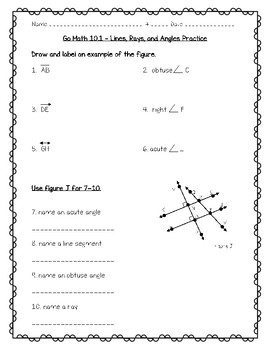 Go Math Practice - 4th Grade - 10.1 Lines, Rays, and Angles Freebie