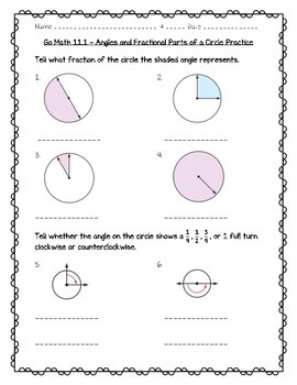 Go Math Practice - 4th Grade - 11.1 Angles and Fractional Parts of a Circle