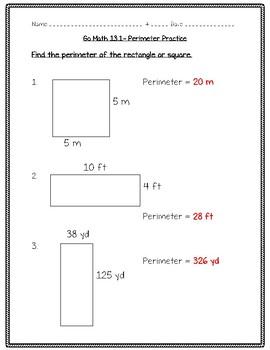 Go Math Practice - 4th Grade - 13.1 - Perimeter