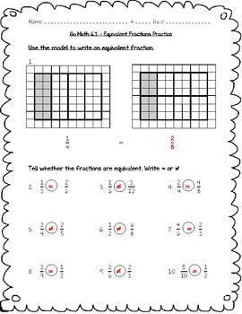 Go Math Practice - 4th Grade - 6.1 - Equivalent Fractions Worksheet Freebie!