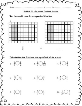 Go Math Practice - 4th Grade - 6.1 - Equivalent Fractions Worksheet ...