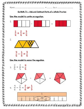 Go Math Practice - 4th Grade - 7.1 - Add and Subtract Parts of a Whole