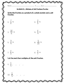 Go Math Practice - 4th Grade - 8.1 Multiples of Unit Fractions ...
