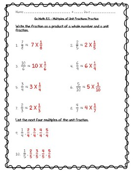 Go Math Practice - 4th Grade - 8.1 Multiples of Unit Fractions Worksheet Freebie