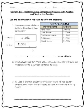 Go Math Practice - 4th Grade Chapter 1 - Place Value, Addition, and Subtraction