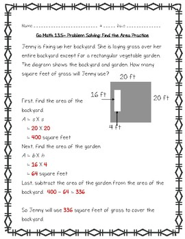 Go Math Practice - 4th Grade Chapter 13 - Perimeter and Area