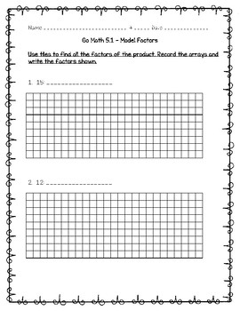 Go Math Practice - 4th Grade Chapter 5 - Factors, Multiples, and Patterns