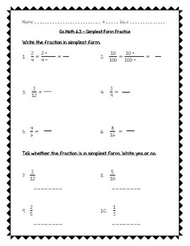 Go Math Practice - 4th Grade Chapter 6 - Fraction Equivalence and Comparison