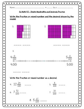 Go Math Practice - 4th Grade Chapter 9 - Relate Fractions and Decimals