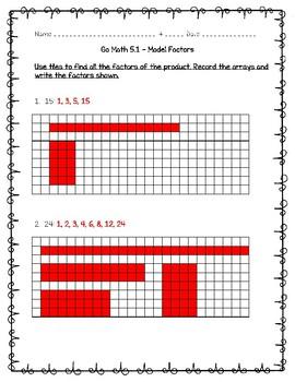 Go Math Practice 4th Grade - 5.1 - Model Factors Freebie!