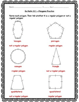 Go Math Practice - 5th Grade 11.1 - Polygons