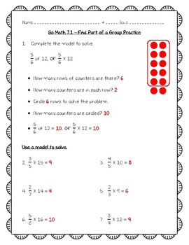 Go Math Practice - 5th Grade 7.1 - Find Part of a Group