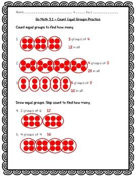 Go Math Practice - Count Equal Groups Worksheet Freebie!