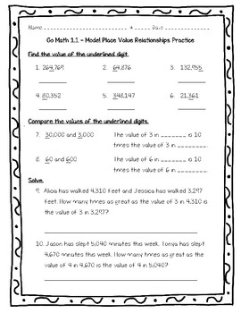 Go Math Practice 4th Grade 1.1- Model Place Value Relationships ...