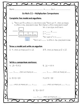 Go Math Practice 4th Grade 2.1 - Multiplication Comparisons ...