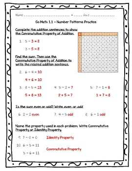 Go Math Practice - Number Patterns Worksheet Freebie