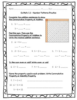Go Math Practice - 3rd Grade 1.1 - Number Patterns Worksheet Freebie