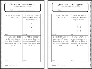 First Grade Go Math! Pre-Assessments by Chapter
