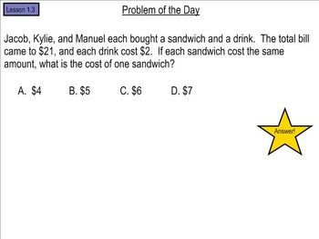 Go Math! Chapter 1 Problem of the Day, 5th Grade- SMART Board