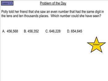 Go Math! Problem of the Day, BUNDLE, Chapters 1-11 5th Grade- SMART Board