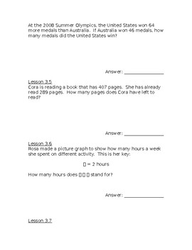 Go Math! Problem of the Day Chapter 3 Grade 3