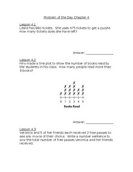 Go Math! Problem of the Day Chapter 4 Grade 3