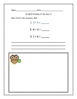 Go Math! Problems of the Day for 1st Grade Chapter 1