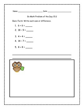 Go Math! Problems of the Day for 1st Grade Chapter 10